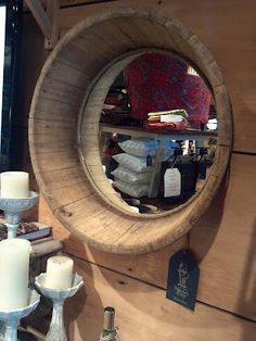 Barrel Bottom mirror. Found J his next project. So sweet!