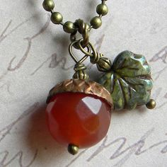 ACORN Necklace  Faceted Crystal Acorns With Brass by Msemrick, $22.00