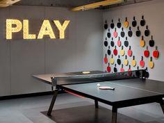 Hotel Bloom Experience floor at Brussels, Belgium. Office Interior Design, Office Interiors, Interior Design Inspiration, Room Interior, Design Interiors, Ping Pong Room, Ping Pong Table, Ping Pong Bar, Game Room Basement