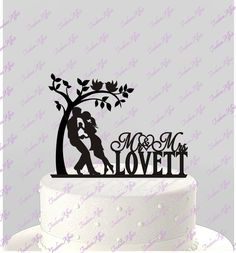 Wedding Cake Couple in Love Topper Mr and Mrs Silhouette Personalized with Last Name, Acrylic, Tree, llove birds Topper [CT46]