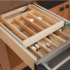 Hafele Wooden Double Cutlery Kitchen Drawer | KitchenSource.com