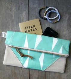 Mint Triangles Organic Canvas Clutch