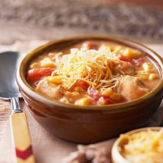 Nacho Cheese Chicken Chowder This thick chowder recipe is a good way to lure picky eaters away from macaroni and cheese at dinnertime, especially if you have breadsticks to dip into it.