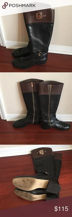 Michael Kors Black/Mocha Stockard Boots Size 10 Gently Used MK Ladies Boots Size 10 Michael Kors Shoes