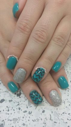 Turquoise, glitter and chevron nails