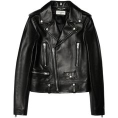 Saint Laurent Leather biker jacket, Black, Women's, Size: 40 (15.270 BRL) ❤ liked on Polyvore featuring outerwear, jackets, tops, leather jacket, slim jacket, leather biker jacket, slim leather jacket and biker jacket