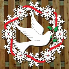 """Dove Wreath DIY Woodcraft Pattern #2478 - 48""""H x 48"""". Pattern by Sherwood Creations #woodworking #woodcrafts #pattern #craft #dove #wreath"""