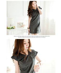 Shirred Studded Shoulder Dress