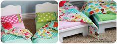 {Adorable Doll Bed & Bedding} bedding, doll beds, doll cloth, bed inspir, sew idea, bed collag, collages, american girl, beauti doll