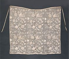 DRESDEN WORK APRON  English, dated 1728
