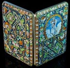 Antique Russian Cloisonne Enamel Silver Case | The Swan Princess After Vrubel Painting