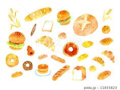 Cute Food Art, Web Design, Food Drawing, Food Illustrations, Bagel, Character Art, Food And Drink, Bread, Drawings