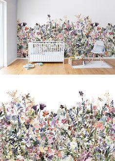 Living room decor ideas wallpaper wall murals ideas for 2019 Nursery Wallpaper, Modern Wallpaper, Botanical Wallpaper, Flower Wallpaper, Designer Wallpaper, Photo Wallpaper, Pastel Wallpaper, Leaves Wallpaper, Plant Wallpaper
