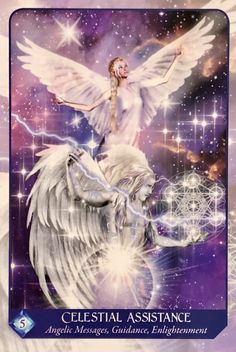 "Celestial Assistance, from the Magical Dimensions Oracle Cards and Activators, by Lightstar Celestial Assistance: ""Angelic Messages, Guidance, Enlightenment"" ~(… Archangel Gabriel, Archangel Raphael, Raphael Angel, Angel Guide, Oracle Tarot, Angel Cards, Celestial, Tarot Cards, Meditation"