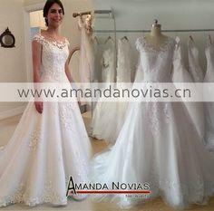 Ns972 2015 Hot Sale Amanda Novias A linha simples e elegante laço Illusion decote vestido de noiva vestido de noiva