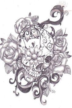 sugar skull tattoo with flowers - Google zoeken