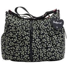 Babymel Amanda Hobo Diaper Bag - Mini Daisy Black/White | Designer Maternity www.duematernity.com