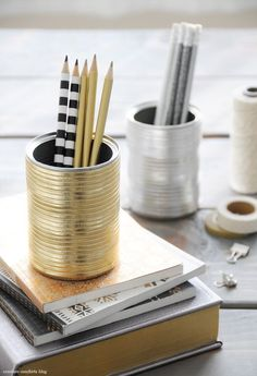gold pencil holder, cans DIY