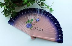 Purple hand painted fan, Wood folding fan purple flowers, Carved wood fan, Free shipping to USA Painted Fan, Hand Painted, Purple Hands, Purple Backgrounds, Carved Wood, Wood Carving, Purple Flowers, Hand Fan, Really Cool Stuff