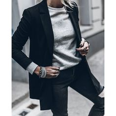 Grey Blazer and sweatshirt! Happy evening!