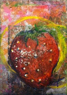 'Strawberry Map',  Mixed Medium ATC - traded...   created on my son's history homework paper-map of Asia