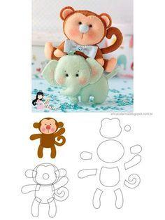 felt elephant and monkey pattern Baby Crafts, Felt Crafts, Fabric Crafts, Sewing Crafts, Sewing Projects, Felt Animal Patterns, Stuffed Animal Patterns, Monkey Pattern, Baby Mobile