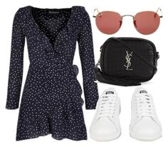 """Untitled #1497"" by morggz ❤ liked on Polyvore featuring Ray-Ban, Yves Saint Laurent and adidas"