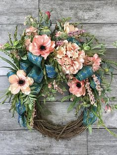 Your place to buy and sell all things handmade Double Door Wreaths, Spring Front Door Wreaths, How To Make Wreaths, Spring Wreaths, Easter Wreaths, Summer Wreath, Summer Flowers, Making Ideas, Swag Ideas