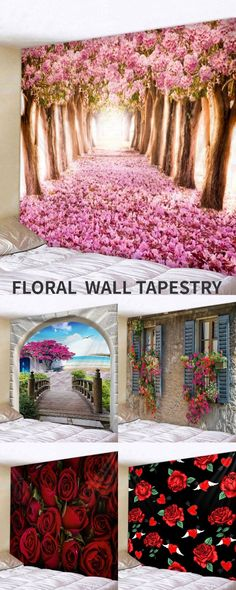 Floral wall tapestry, spring home cute decor, staying home and get some home decor DIY wall tapestry #Rosegal #tapestry #wall #Floral #spring #homedecor
