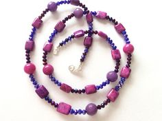 Fuchsia Agate Plum and Purple Crystal Necklace