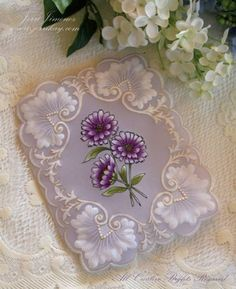 Purple Marguerites Parchment 1 by Jerri Kay - Cards and Paper Crafts at Splitcoaststampers