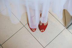 Scarpe da sposa rosse anni 50