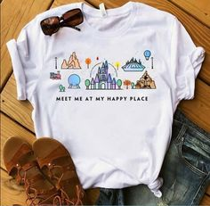Meet Me At My Happy Place T-Shirt Website Name , This t-shirt is Made To Order, one by one printed so we can control the quality. Disney World Outfits, Cute Disney Outfits, Disney Themed Outfits, Disneyland Outfits, Disney Clothes, Disneyland Shirts, Disney Clothing For Women, Disney Merch, Disney T-shirts