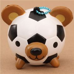 round soccer ball teddy bear squishy cellphone charm 2