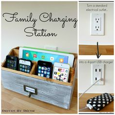 Family Charging Station and how to convert a standard outlet to a 4 usb port outlet