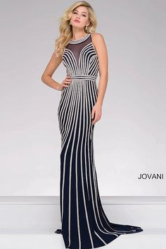 Navy Sleeveless Fitted Beaded Prom Dress 41348