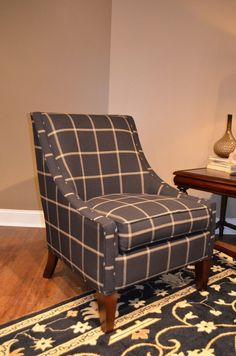 Craftmaster Furniture accent chair in menswear plaid.