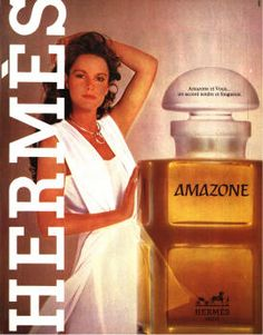 Amazone by Hermes (1981). Perfume Ad, Vintage Perfume Bottles, Retro Ads, Vintage Ads, Hermes Parfum, Kind Of Text, Cosmetics And Toiletries, Beauty Ad, Personal Hygiene