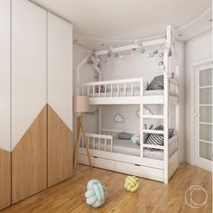 room for children of different sexes, 12 sq.m on Behance Bunk Beds For Girls Room, Bunk Bed Rooms, Cool Kids Bedrooms, Kids Bedroom Designs, Bunk Bed Designs, Kids Room Design, Kid Beds, Contemporary Bedroom Furniture, Kids Bedroom Furniture
