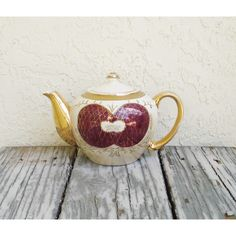 Vintage Iridescent Porcelain Teapot, Vintage Lusterware Japan Teapot,... ($22) ❤ liked on Polyvore featuring home, kitchen & dining, teapots, vintage tea pots, porcelain teapot, gold tea pot, vintage teapots and gold teapot