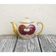 Vintage Iridescent Porcelain Teapot, Vintage Lusterware Japan Teapot,... ($22) ❤ liked on Polyvore featuring home, kitchen & dining, teapots, vintage tea pots, porcelain teapot, gold tea pot, vintage teapots and gold teapot