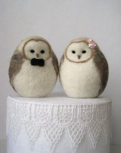 Barn Owls Wedding Cake Topper  READY TO SHIP by Woolnimals on Etsy, $60.00