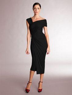 Donna Karan Fall 2012 Black Draped Knot Dress