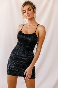 Buy the Forgiven Sequin Bodycon Mini Dress Black only at Selfie Leslie! Black Hoco Dresses, Short Sparkly Dresses, Sparkly Mini Dress, Black Dress Outfits, Little Dresses, Dress Black, Short Sequin Dress, Sparkly Homecoming Dresses, Makeup For Black Dress