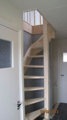Loft stairs diy attic spaces Ideas for 2019 Small Space Staircase, Loft Staircase, Stairs In Small Spaces, Space Saving Staircase, White Staircase, Attic Spaces, Attic Rooms, Loft Conversion Stairs, Loft Conversion Plans