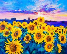 Sunflower Canvas Paintings, Canvas Painting Landscape, Oil Painting Flowers, Oil Painting Abstract, Diy Painting, Canvas Art, Paintings Of Sunflowers, Painting Canvas, Birthday Photo Background