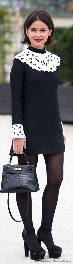 Street Style | Miroslava Duma, PFW black and white sheath dress street style