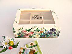 Unique woodenTEA box/ Kitchen decor/ Flower garden/ by ellinna, $42.50
