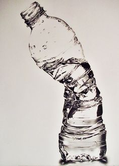 "This is a pencil drawing!    ""Crushed Waterbottle"" by ~sjhjkim on deviantART"