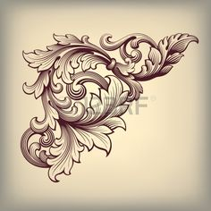 vector vintage Baroque scroll design frame corner pattern element engraving retro style ornament Stock Vector